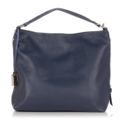 Laura Moretti - Leather hobo bag with tired and hanging metal plaque