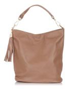 Laura Moretti - Leather hobo bag with detachable tassel charm