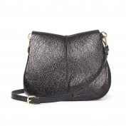 TJ Collection Women's Cracked-Leather Saddle Bag Ascot