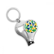 Yellow Blue Green Irregular Printing Brazil Cultural Element Metal Key Chain Ring Multi-function Nail Clippers Bottle Opener Car Keychain Best Charm Gift