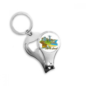 Hand-painted Brazil Rio De Janeiro Coastal City Scenery Metal Key Chain Ring Multi-function Nail Clippers Bottle Opener Car Keychain Best Charm Gift