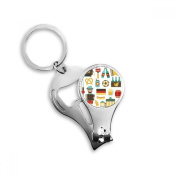 Soccer Beer Sausage Accordion Brazil Cultural Element Metal Key Chain Ring Multi-function Nail Clippers Bottle Opener Car Keychain Best Charm Gift