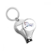 Horse Motocycle Building Watercolour Painting Metal Key Chain Ring Multi-function Nail Clippers Bottle Opener Car Keychain Best Charm Gift