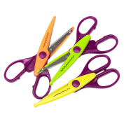 Set of 3 Pairs of Children's Craft Scissors Assorted Blades Art Card Paper Kids