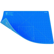 ANSIO A2 Double Sided Self Healing 5 Layers Cutting Mat Imperial/Metric 22 Inch x 16 Inch / 43cmx 58cm - True Blue / Sky Blue
