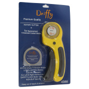 Rotary Cutter with Titanium Spare Blade - Driffy - 45mm - Titanium Coated Ultra Durable Blades - Fabric Paper cutter, Cloth, craft supplies and Quilting Accessories. Suits Cutting mat.