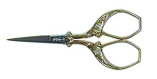 Locau 3026.09 Retro Embroidery Scissors 9 cm Stainless Steel with Gold Rings Gold/Beige