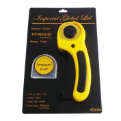 45mm Rotary Cutter with Replacement Cutting Blade, Ergonomic Left or Right-Hand | Non-Slip Grip w/ Safety Button | Heavy-Duty | Fabric, Vinyl, Paper
