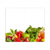 Hob Covers with Knobs Set of 2 Chopping Vegetables and Fruit