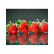 Hob Covers with Knobs Set of 2 Chopping Board Strawberry