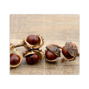 Hob Covers with Knobs Set of 2 Chopping Board Chestnut