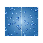 Stove Cover Blue Water Drop With Knobs Set of 2 Cutting Board