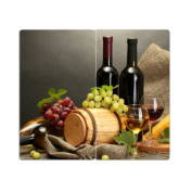 DekoGlas Glass Stove Top Cover - Set of 2 Cutting Boards Splash Guards Wine Design