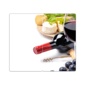Hob Covers with Knobs Set of 2 Chopping Board Bottle of Wine