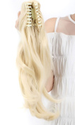 "18""/45cm Curly Wavy Clip In Claw on Ponytail Hair Extensions Long Hairpiece 140g with a Jaw/Claw Clip - Bleach blonde"
