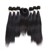 6 Bundles With Top Closure Brazilian Straight Human Hair 180-210g