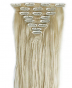 8Pcs 18 Clips 23 Inches(58cm) Straight Full Head Clip in on Hair Extensions Women Lady Hairpiece - Bleach blonde