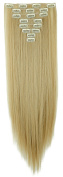 8Pcs 18 Clips 23 Inches(58cm) Straight Full Head Clip in on Hair Extensions Women Lady Hairpiece - Ash blonde mix bleach blonde