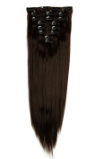 8Pcs 18 Clips 23 Inches(58cm) Straight Full Head Clip in on Hair Extensions Women Lady Hairpiece - Dark brown