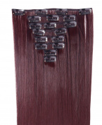 8Pcs 18 Clips 23 Inches(58cm) Straight Full Head Clip in on Hair Extensions Women Lady Hairpiece - Wine red