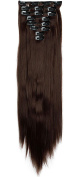 8Pcs 18 Clips 23 Inches(58cm) Straight Full Head Clip in on Hair Extensions Women Lady Hairpiece - Medium brown