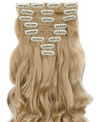 8pcs Long Curly Wavy Full Head Clip in Hair Extensions Hairpieces 18 clips Ombre 60cm - Ash blonde
