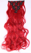 8pcs Long Curly Wavy Full Head Clip in Hair Extensions Hairpieces 18 clips Ombre 60cm - Dark red