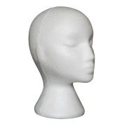 Prochive Female Foam Model Head, Styrofoam Head Foam Mannequin Head Model Dummy Wig Glasses Hat Display Stand