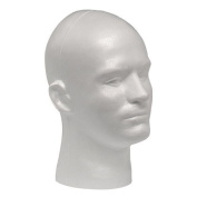 Case Giell Styrofoam Foam Mannequin Wig Head Display Male White by Giell