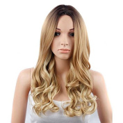 MENRY Women Blonde Ombre Hair Black Root Long Curly Wigs