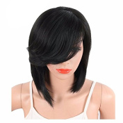 MENRY Short Straight Synthetic Side Parting Bob Wigs With Bangs
