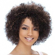 MENRY Afro Kinky Curly Short Black Brown Mix Synthetic hair Wigs