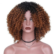 MENRY Ombre Brown Afro Kinky Curly Hair Long Synthetic Wigs