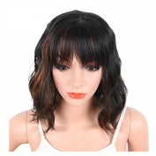 MENRY Black Mix Brown Colour Synthetic Hair Wigs With Bangs