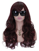 Long Curly Wavy Wigs for Women 60cm Full Head Red Wine Hair Cosplay Lolita Party Wig + Free Wig Cap and Comb SXL1478