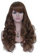 Long Curly Wavy Wigs for Women 60cm Full Head Hair Extension Caramel and Yellow Mixed Colour Cosplay Lolita Party Wig with Bangs+ Free Wig Cap and Comb SXL1543