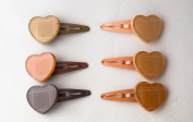 Pack of 6 Heart Hairpins in Brown Tones. .