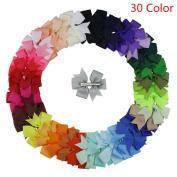 Sansee 30pcs Big Hair Bows Boutique Girls Alligator Clip Hairpins Grosgrain Ribbon Headband