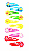 12 Hairpins (Clip) Metal Multicolor Flower with Heart Design (4.5 x 1.5 cm) High Quality