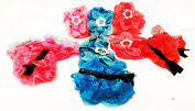 12 Hairpins/Hair Clips Metal/Fabric Flowers With Golden Embroidery and Flower Design Tricolour (6.5 x 4 cms) High Quality...