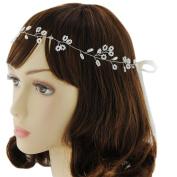 TOPQUEEN Wedding Hairpiece Hairband Hair Pin Accessory Bridal Pearl Hair Vine Ribbon Headband