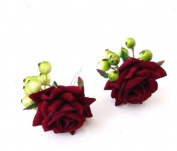 Starcrossed Boutique 2 x Burgundy Deep Red Rose Green Berry Flower Hair Pins Bridesmaid Bridal 4209