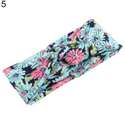 Dexinghaoye Fashion Women Yoga Floral Print Knotted Hairband Turban Headband Hair Accessory