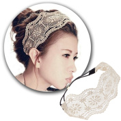Bronze Coloured Headband Hairband Hair Band Holder With Laced Laces Flowers Design Pattern and Black Elastic Strap