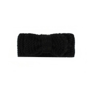 Fostly Womens Fashion Crochet Bow Hairband Knitted Hollow Out Headband Headwrap Winter Ear Warmer Hair Accessories Black