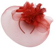Red Feather Flower Fascinator Hat Veil Net headband Clip Ascot Derby Races Wedding