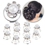 Hair Styling Hairstyling Set of 10pcs Spiral Hairdos Pins Twists Hairpins Twister Slides Curlies Coils Brides Weddings Decorations With Flowers Studded With Rhinestones Crystals and White Pearls Beads