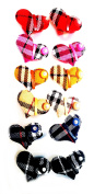 12 Ponytailers Multicolor Fabric Design Hearts (Cheque) (4 x 2.5 cms) High Quality