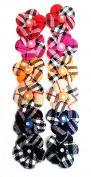 12 Ponytailers Multicolor Design Fabric Flowers (Cheque) (4 x 4 cms) High Quality