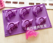 6 Holes Dolphins Shape Silicone DIY Handmade Soap Cake Cookie Ice Tray Moulds Kitchen Tools by Clest F & H